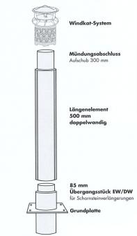 Schornsteinverlängerung Edelstahl mit WINDKAT / Stutzen eckig NW130mm Bild 2