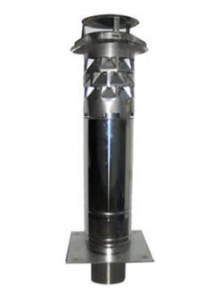Schornsteinverlängerung Edelstahl mit WINDKAT / Stutzen rund NW130mm Bild 1