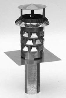 WINDKAT Kaminaufsatz V4A Edelstahl eckig 130 mm Stutzen 100 x 100 mm Bild 1