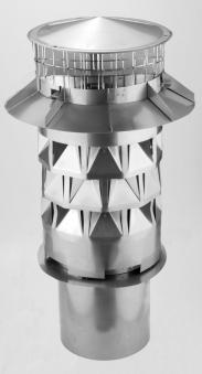 WINDKAT Kaminaufsatz V4A Edelstahl 130mm Stutzen Ø98mm rund mit Gitter Bild 1