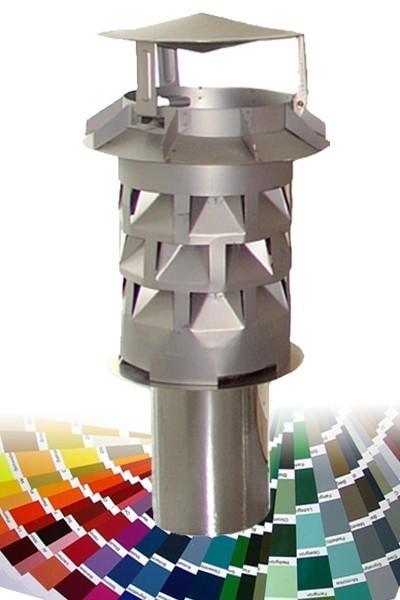 WINDKAT Kaminaufsatz V4A rund 130 mm Stutzen Ø 128 mm Farbe wählbar Bild 1