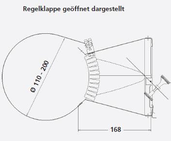 Zugbegrenzer Z5 Edelstahl mit Rauchrohradapter Ø110-200mm Bild 3