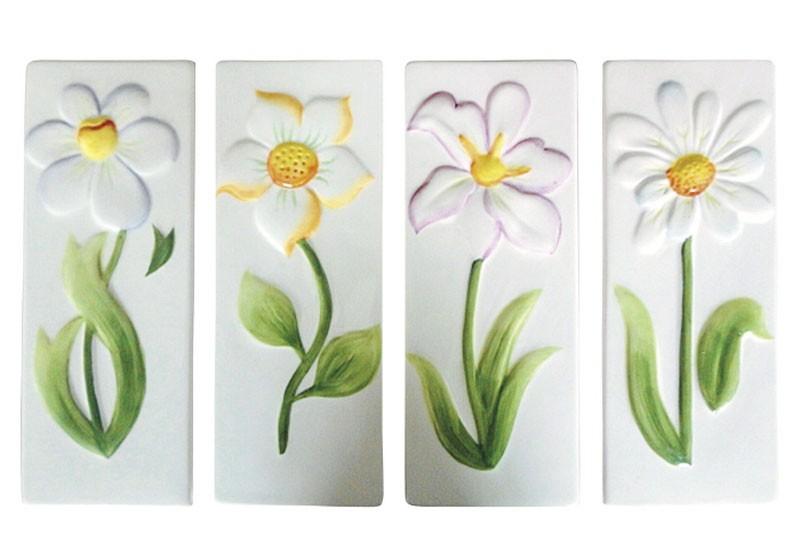 Luftbefeuchter / Verdunster Keramik mit Blumenrelief flach Bild 2