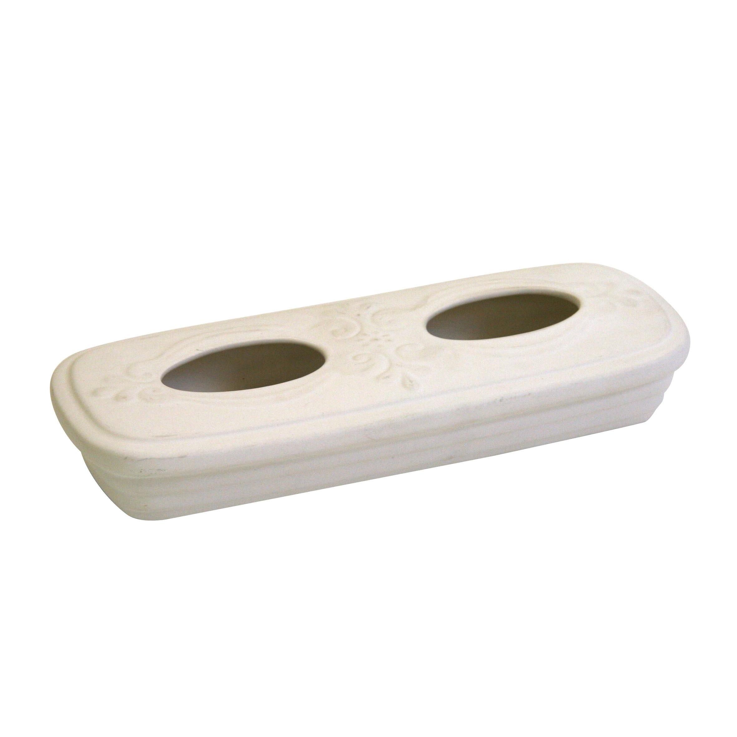Verdunster / Luftbefeuchter KaminoFlam Keramik weiß Relief Bild 1