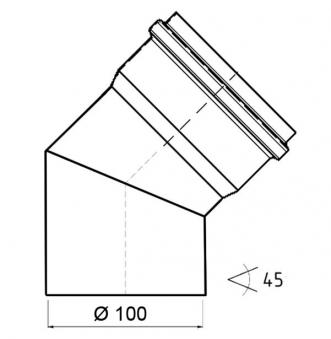Bogenknie 45° für Pelletofen Senotherm 0,8mm schwarz Ø100mm ohne Tür Bild 1