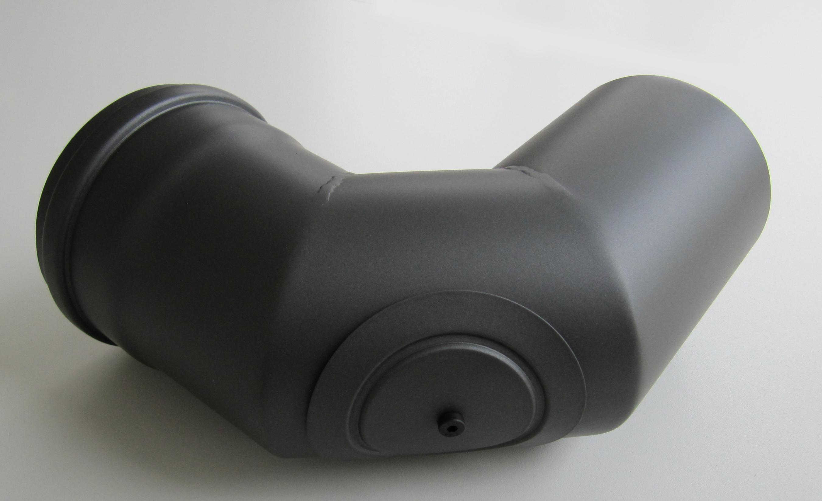 Bogenknie 90° für Pelletofen Senotherm 0,8mm grau Ø100mm mit Tür Bild 1