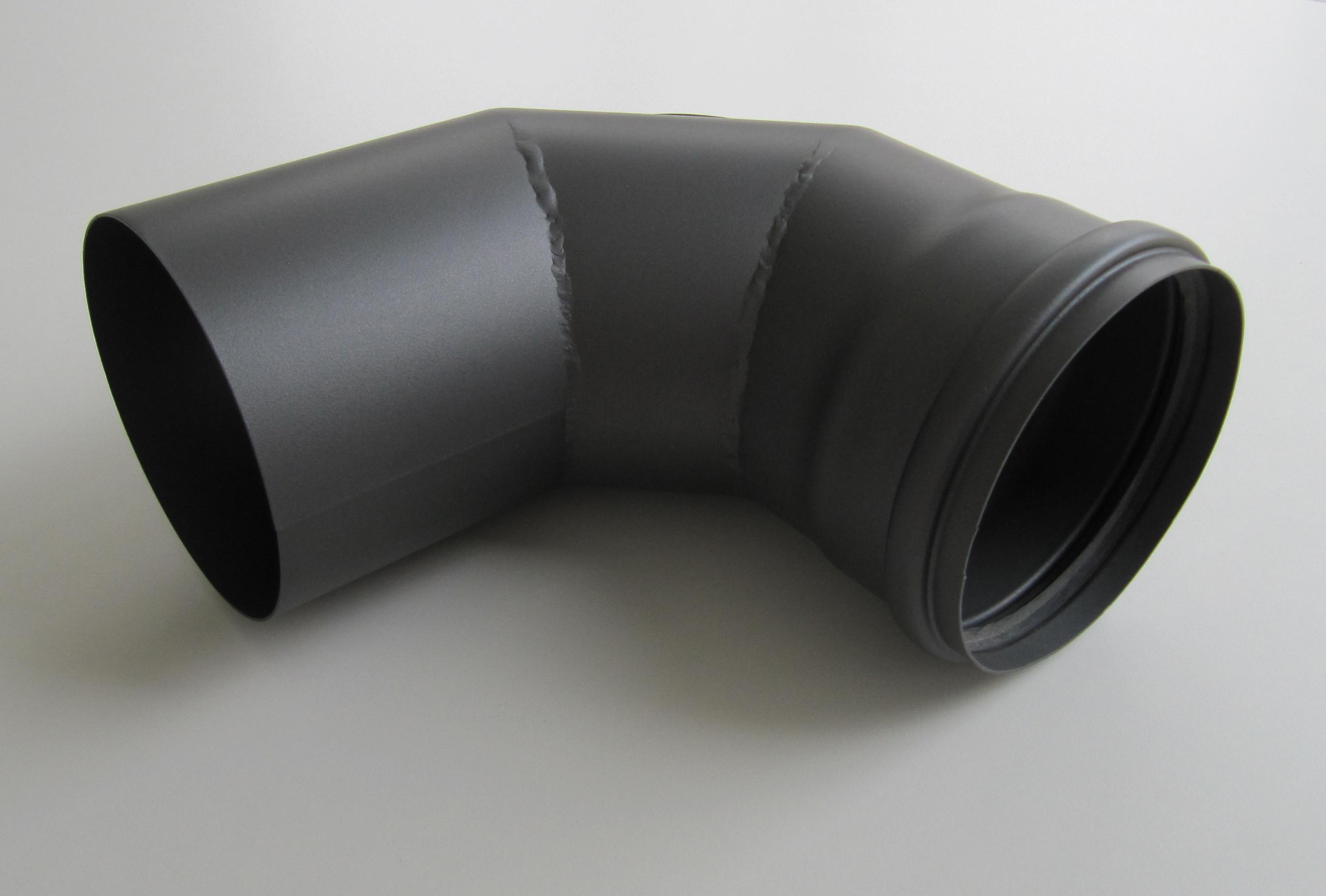 Bogenknie 90° für Pelletofen Senotherm 0,8mm grau Ø100mm mit Tür Bild 3