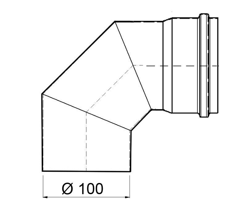 Bogenknie 90° für Pelletofen Senotherm 0,8mm grau Ø100mm ohne Tür Bild 1