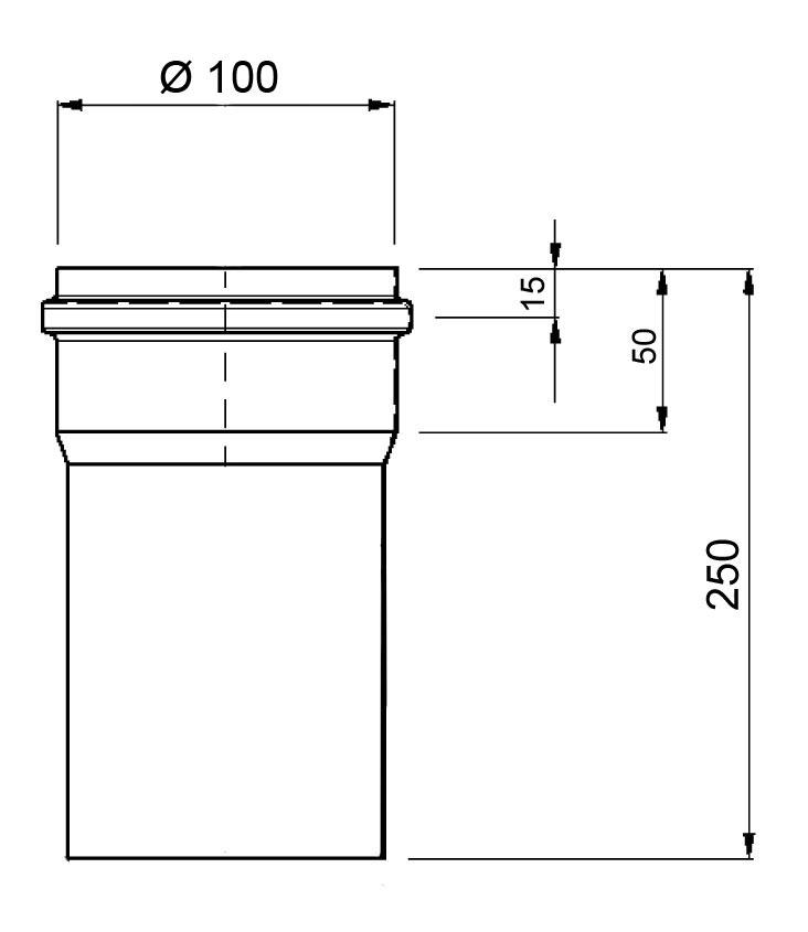 Ofenrohr für Pelletofen Senotherm 0,8mm grau Ø100mm Länge 250mm Bild 1