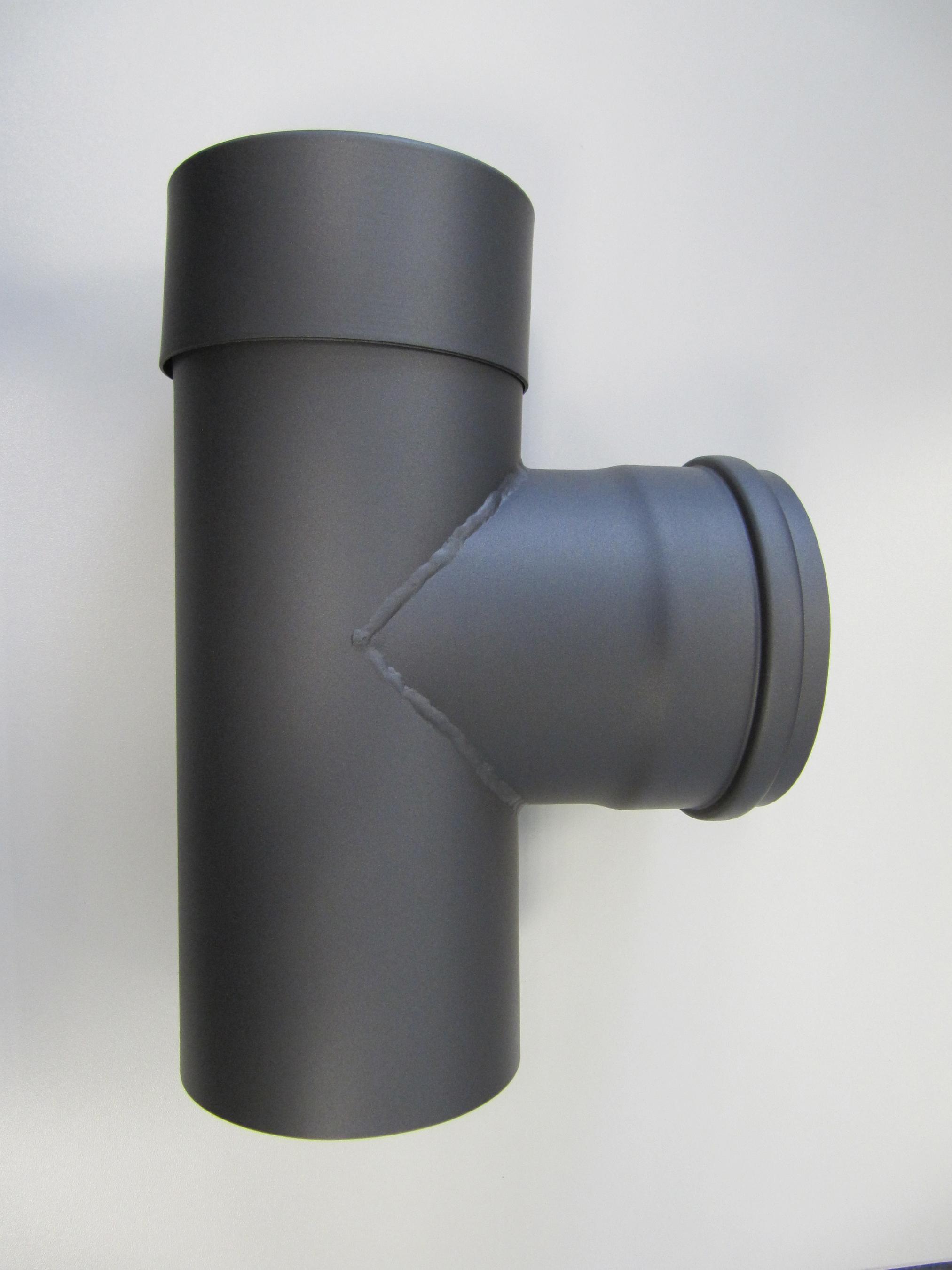 T-Stück für Pelletofen Senotherm 0,8mm grau Ø100mm gemufft Länge 250mm Bild 1