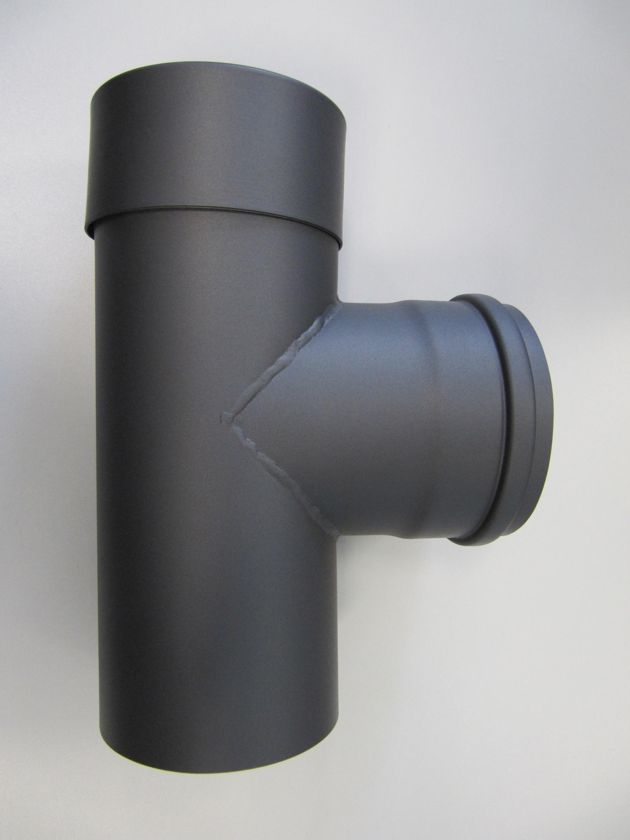 T-Stück für Pelletofen Senotherm 0,8mm grau Ø100mm gemufft Länge 250mm Bild 3