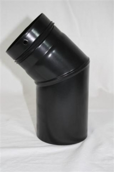 Ofenrohr / Rauchrohr für Pelletofen Bogen 45° Ø100mm ohne Tür Bild 1