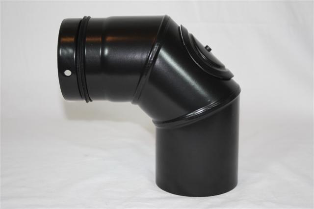 Ofenrohr / Rauchrohr für Pelletofen Bogen 90° Ø100mm mit Tür Bild 1