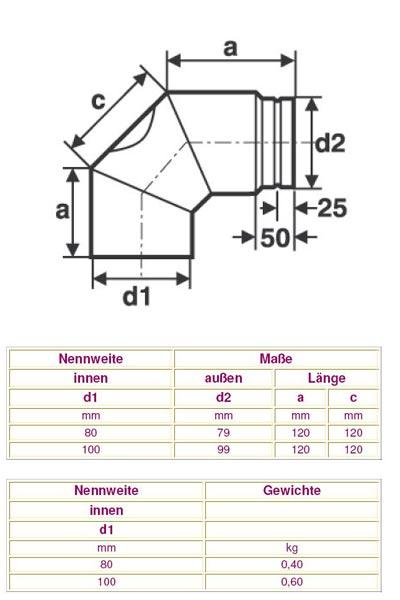 Ofenrohr / Rauchrohr für Pelletofen Bogen 90° Ø100mm ohne Tür Bild 2