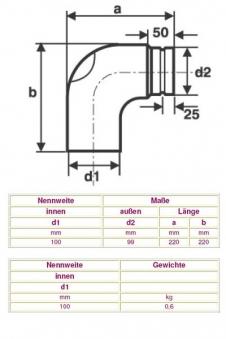 Ofenrohr / Rauchrohr für Pelletofen Bogen 90° gezogen Ø100mm mit Tür Bild 2