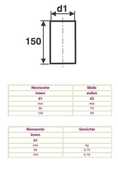 Ofenrohr / Rauchrohr für Pelletofen Schornsteinanschluss Stück Ø100mm Bild 2