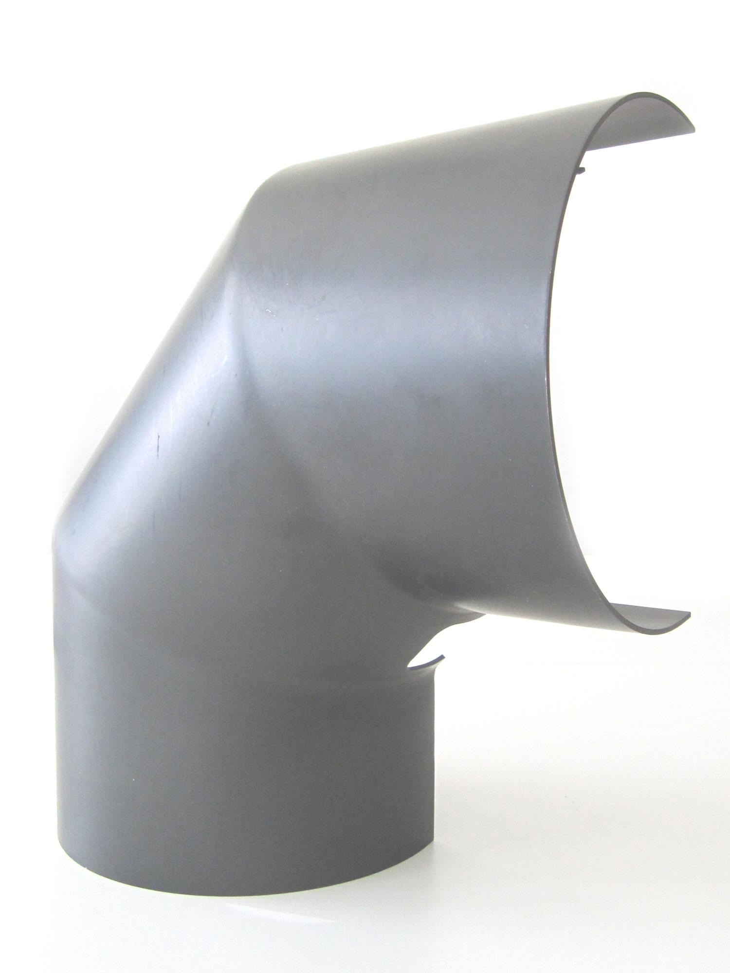 Hitzeschutz Rohrblende Winkel 90° Stahlblech grau Ø120mm seitlich Bild 3