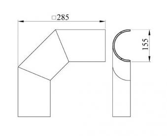 Hitzeschutz Rohrblende Winkel 90° Stahlblech grau Ø120mm seitlich Bild 1