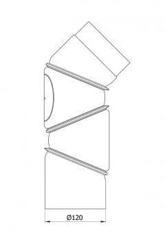 Ofenrohr Bogenknie 4tlg verstellbar 0-90° Ø120mm Stahl grau mit Tür Bild 1