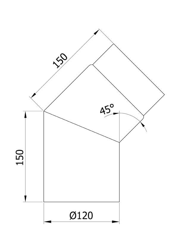 Ofenrohr / Rauchrohr Bogenknie 45° Ø120mm Senotherm grau ohne Tür Bild 1