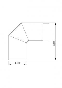 Ofenrohr / Rauchrohr Uni-Bogenknie 90° Ø120mm Senotherm grau o. T. Bild 1
