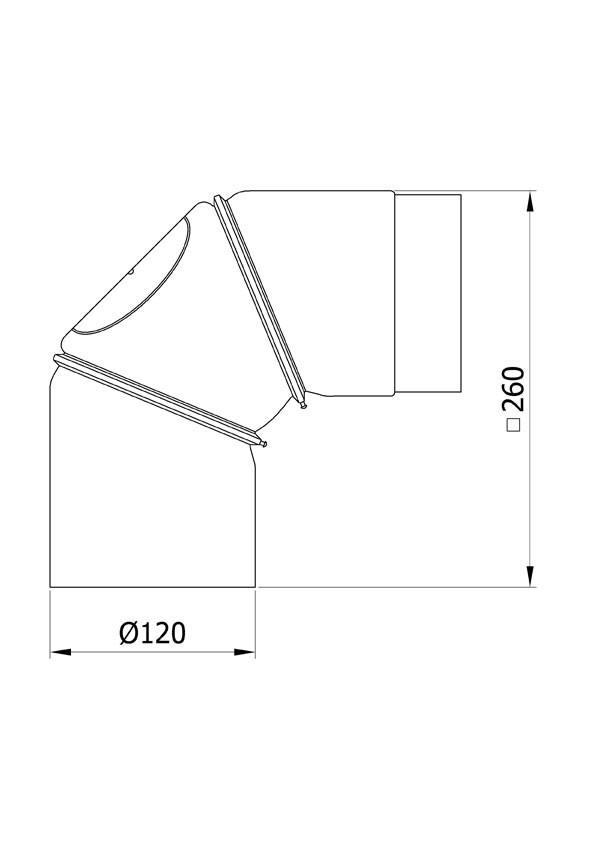 Ofenrohr Bogenknie 3tlg verstellbar 0-90° Ø120mm Senoth. schwarz m.T. Bild 1