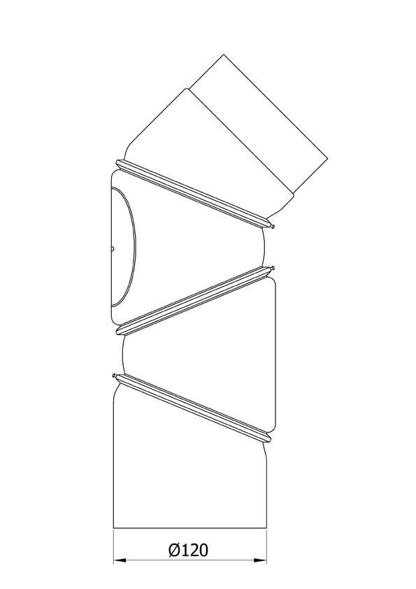 Ofenrohr Bogenknie 4tlg verstellbar 0-90° Ø120mm Stahl schwarz mit Tür Bild 1