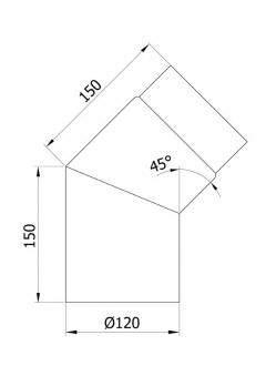 Ofenrohr / Rauchrohr Bogenknie 45° Ø120mm Senotherm schwarz ohne Tür Bild 1