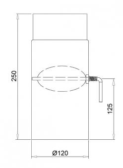 Ofenrohr mit Drosselklappe Senotherm schwarz Ø 120 mm Länge 250 mm Bild 1