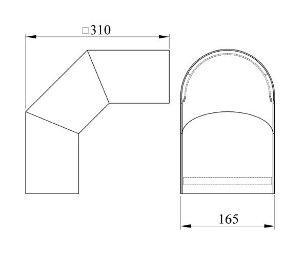 Hitzeschutz Rohrblende Winkel 90° Senotherm grau Ø 130 mm Bild 1