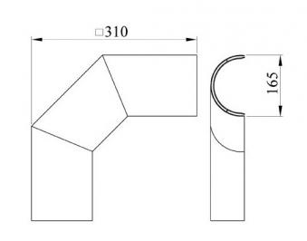 Hitzeschutz Rohrblende Winkel 90° Stahlblech grau Ø130mm seitlich Bild 1