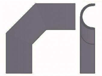 Hitzeschutz Rohrblende Winkel 90° Stahlblech grau Ø130mm seitlich Bild 2