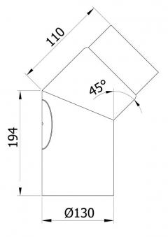 Ofenrohr / Rauchrohr Bogenknie 45° Ø130mm Senotherm grau mit Tür Bild 1