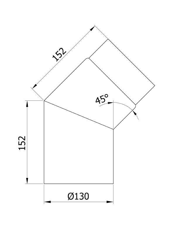 Ofenrohr / Rauchrohr Bogenknie 45° Ø130mm Senotherm grau ohne Tür Bild 1
