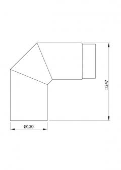 Ofenrohr / Rauchrohr Bogenknie 90° Ø130mm Senotherm grau ohne Tür Bild 1