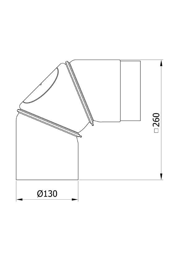 Ofenrohr Bogenknie 3tlg verstellbar 0-90° Ø130mm Senoth. schwarz m.T. Bild 1