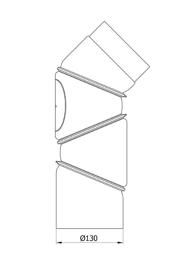 Ofenrohr Bogenknie 4tlg verstellbar 0-90° Ø130mm Stahl schwarz mit Tür Bild 1