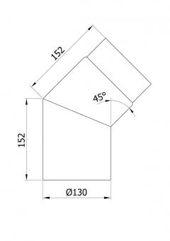 Ofenrohr / Rauchrohr Bogenknie 45° Ø130mm Senotherm schwarz ohne Tür Bild 1