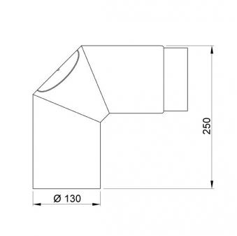 Ofenrohr / Rauchrohr Bogenknie 90° Ø130mm Senotherm schwarz mit Tür Bild 1