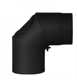 Ofenrohr / Rauchrohr Bogenknie 90° Ø130mm Senotherm schwarz mit Tür Bild 2