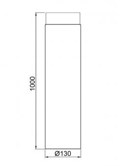 Ofenrohr / Rauchrohr Senotherm schwarz Ø130 mm Länge 1000 mm Bild 1
