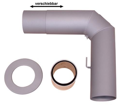 Ofenrohr / Rauchrohr Set 2 Ø 150 mm Schieberohr gussgrau geschweißt Bild 2