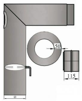 Ofenrohr / Rauchrohr Set 3 Ø150mm Stahl grau verschliffen 500x655mm Bild 1