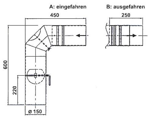Ofenrohr / Rauchrohr Set 2 Ø 150 mm Schieberohr schwarz geschweißt Bild 1