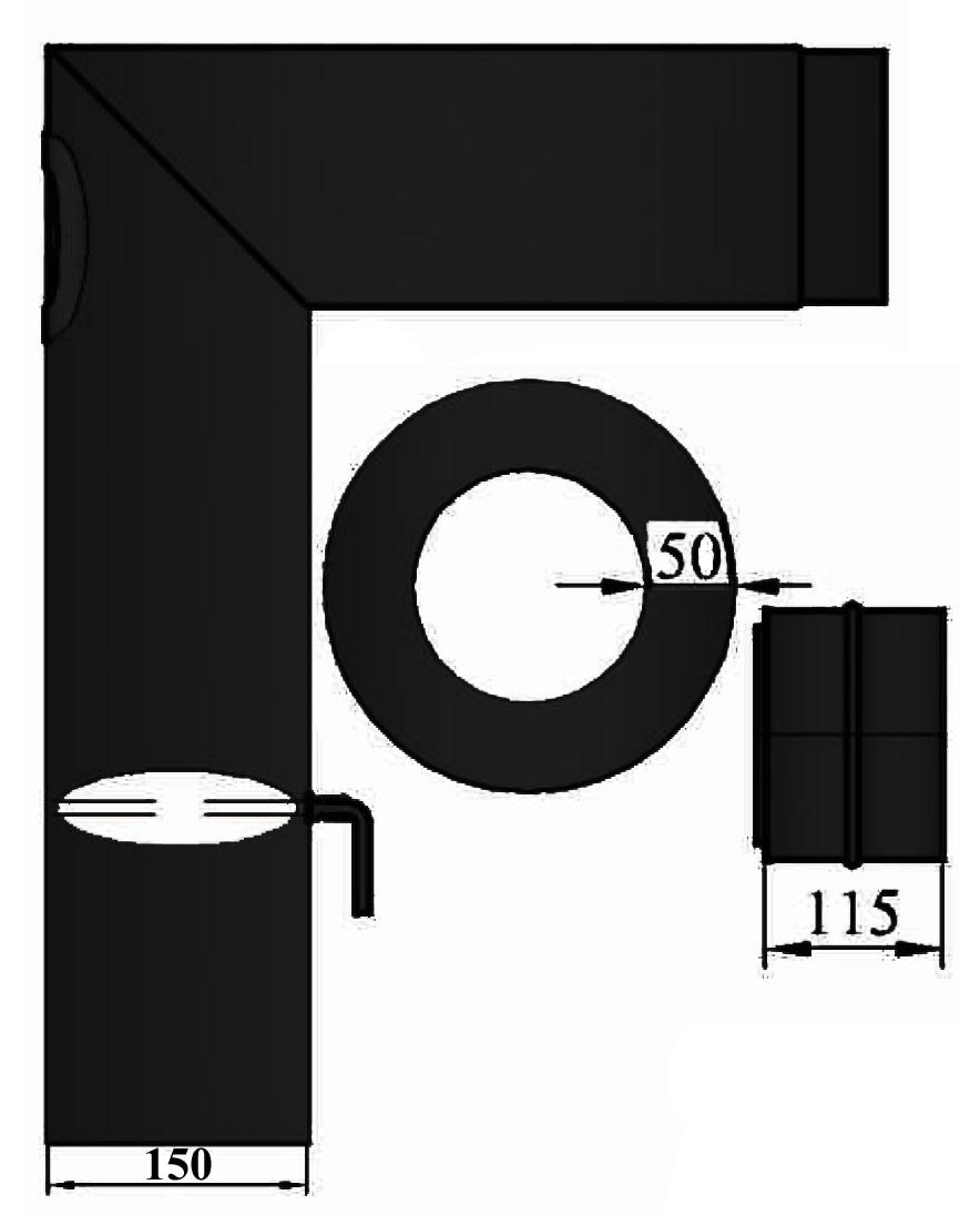 Ofenrohr / Rauchrohr Set 3 Ø150mm Stahl schwarz verschliffen Bild 1