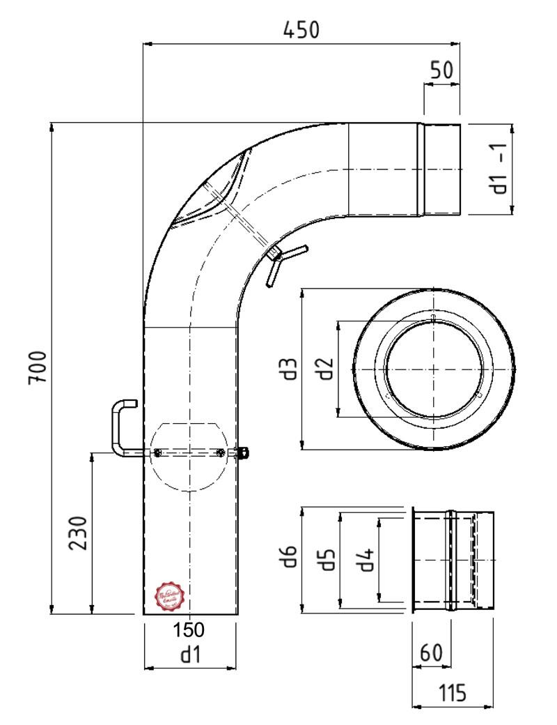 Ofenrohr / Rauchrohr - Set Fullform Ø150mm Senotherm schwarz Bild 4