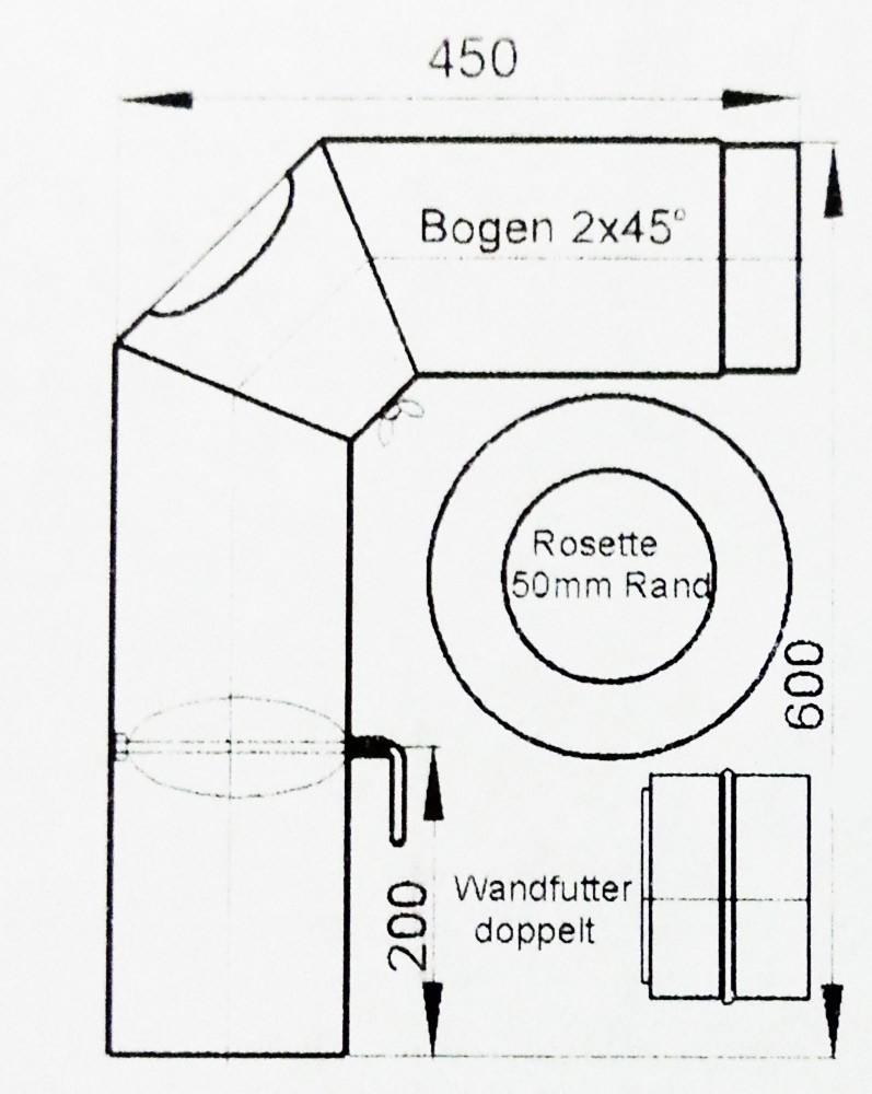 Ofenrohr / Rauchrohr Set2 Ø 150 mm schwarz geschweißt und verschliffen Bild 1