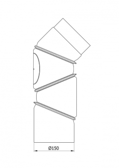 Ofenrohr Bogenknie 4tlg verstellbar 0-90° Ø150mm Senoth. grau mit Tür Bild 1