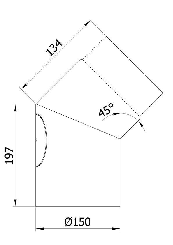 Ofenrohr / Rauchrohr Bogenknie 45° Ø150mm Senotherm grau mit Tür Bild 1