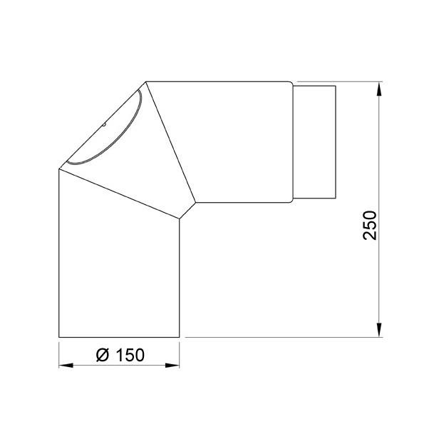 Ofenrohr / Rauchrohr Bogenknie 90° Ø150mm Senotherm gussgrau mit Tür Bild 1
